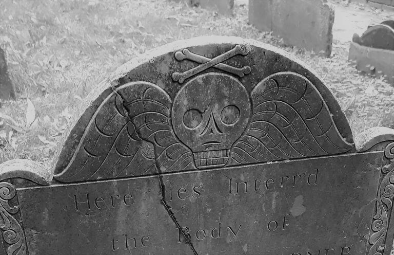 boston burying ground tombstone with death head