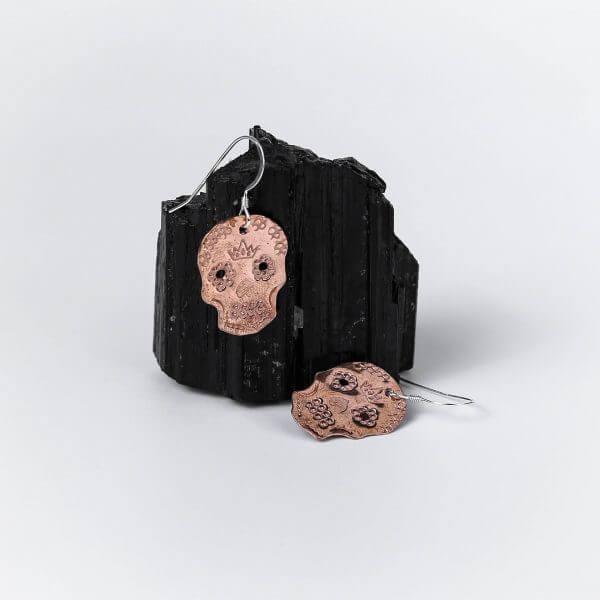 Copper-&-Sterling-Silver-Sugar-Skull-Earrings