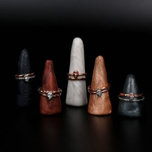 Gothic Jewellery Stacked-Copper-Silver-Rings